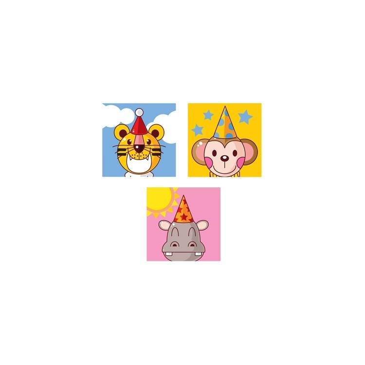 Γενέθλια Ζώων, Παιδικά, Mini Set καμβάς