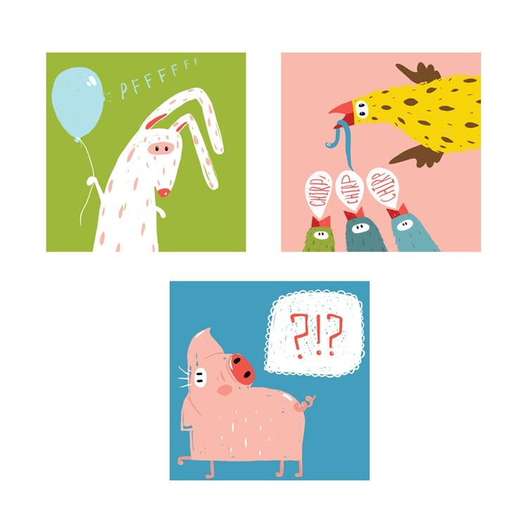 Αστεία Ζώα, Παιδικά, Mini Set καμβάς