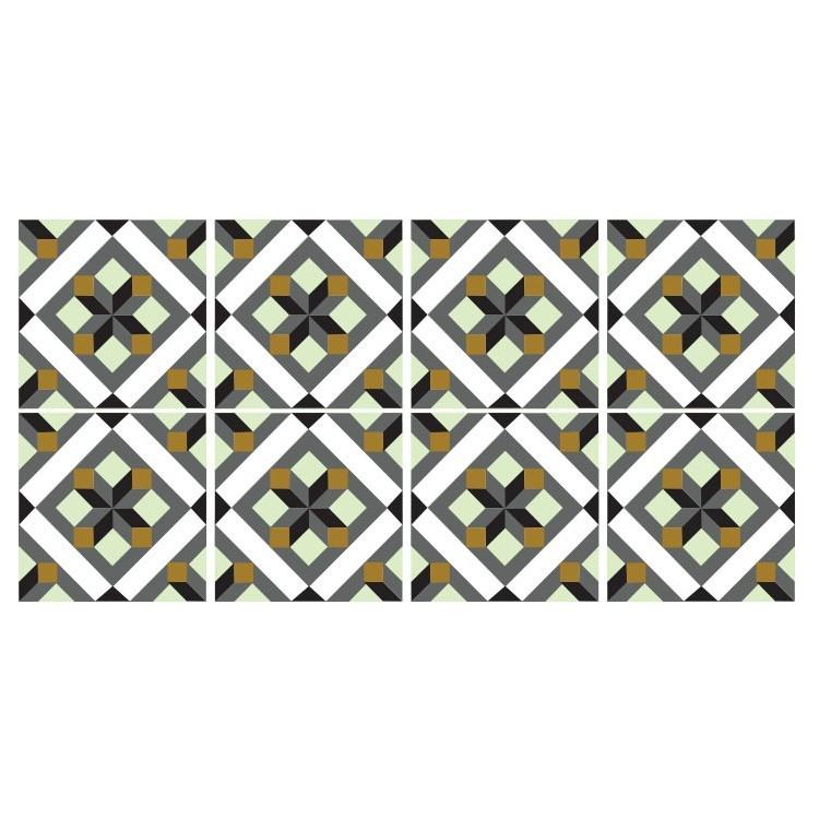 Γεωμετρικό μοτίβο μαύρο γκρι κίτρινο  (8 τεμάχια), Μοτίβα, Αυτοκόλλητα πλακάκια