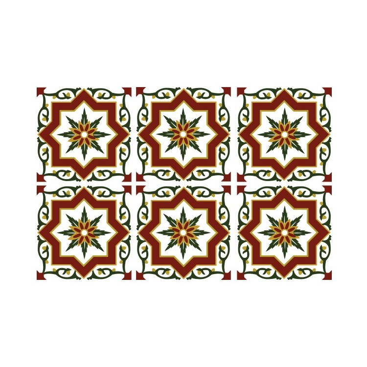 Κόκκινο Μοτίβο (6 Τεμάχια), Μοτίβα, Αυτοκόλλητα πλακάκια