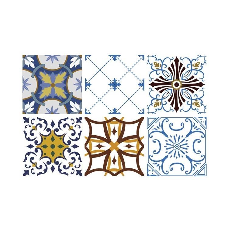Ρετρό μοτίβο μπλε καφέ κίτρινο (6 Τεμάχια), Μοτίβα, Αυτοκόλλητα πλακάκια