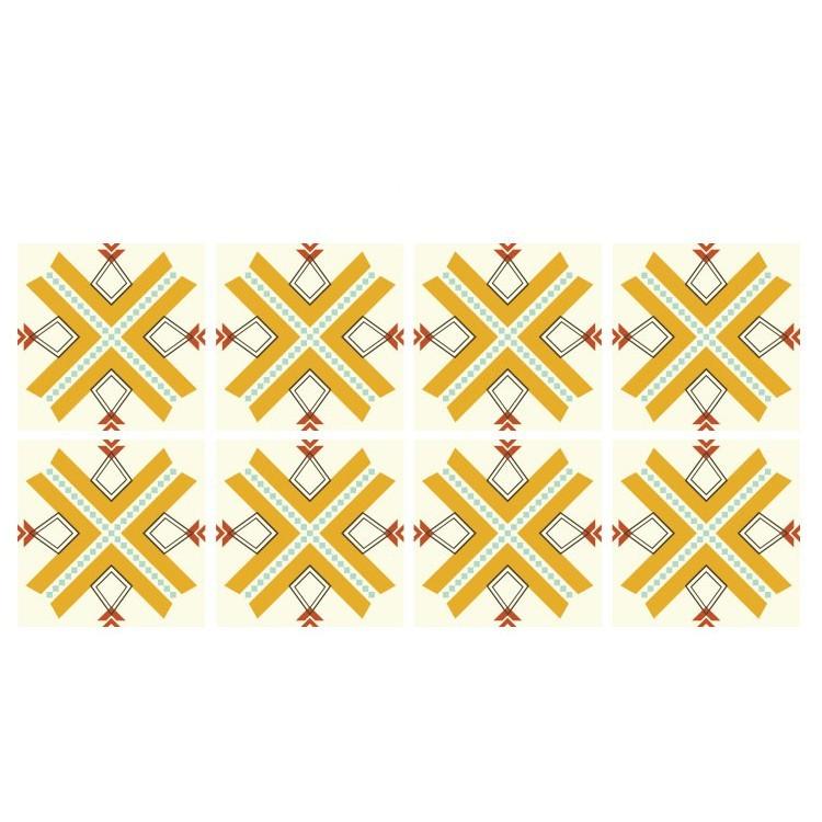 Ρετρό μοτίβο κίτρινο  (8 Τεμάχια), Μοτίβα, Αυτοκόλλητα πλακάκια