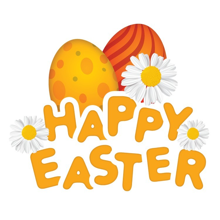 Happy Easter, Eggs And Flowers, Πασχαλινά, Αυτοκόλλητα βιτρίνας
