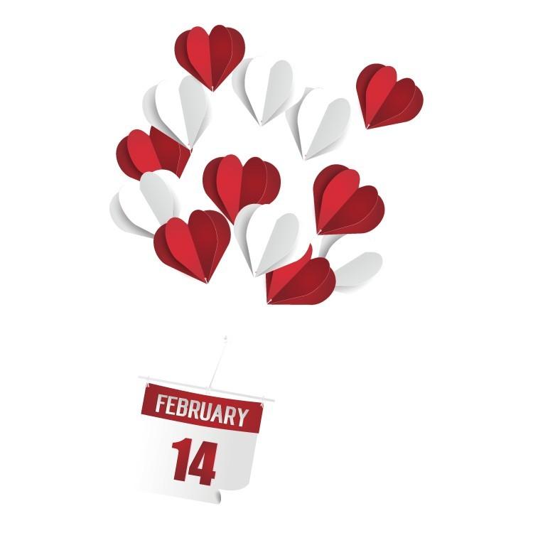 14 February, Valentines Day, Αυτοκόλλητα βιτρίνας