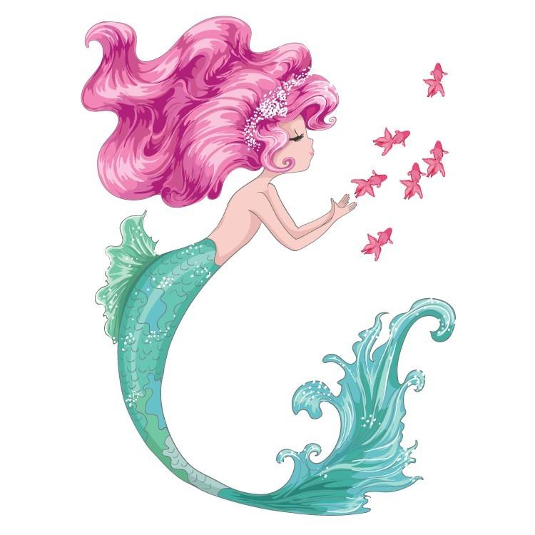 Γοργόνα με ροζ μαλλιά, Παιδικά, Αυτοκόλλητα τοίχου