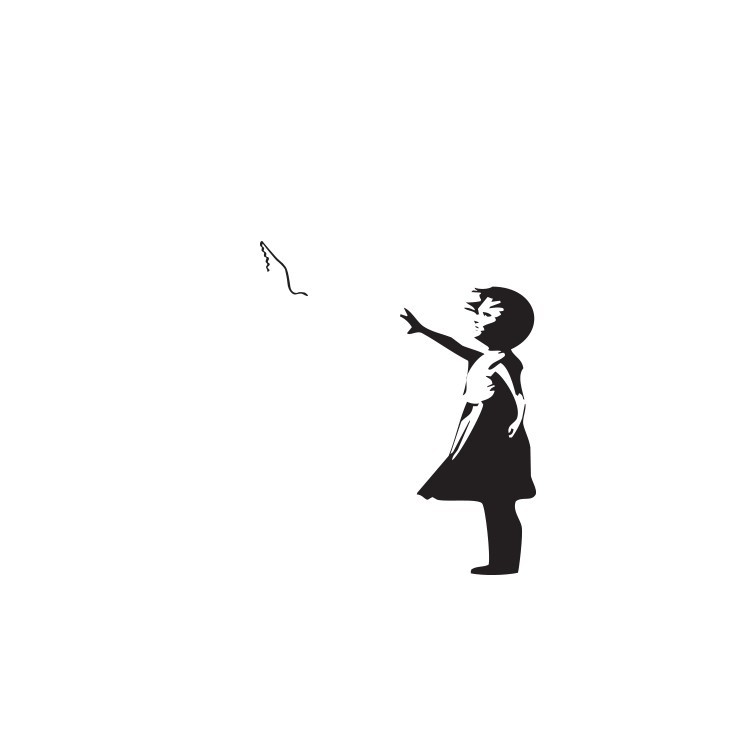 Love floats, Banksy, Αυτοκόλλητα τοίχου