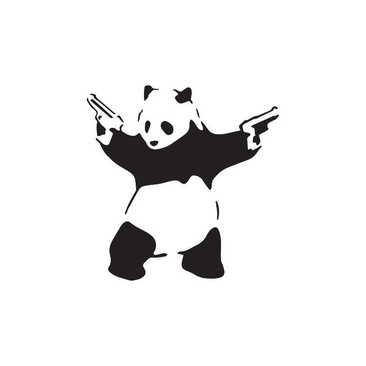 Panda gun, Banksy, Αυτοκόλλητα τοίχου