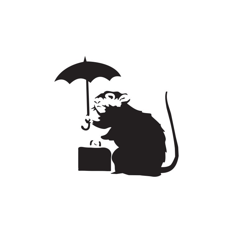 Umbrella rat, Banksy, Αυτοκόλλητα τοίχου