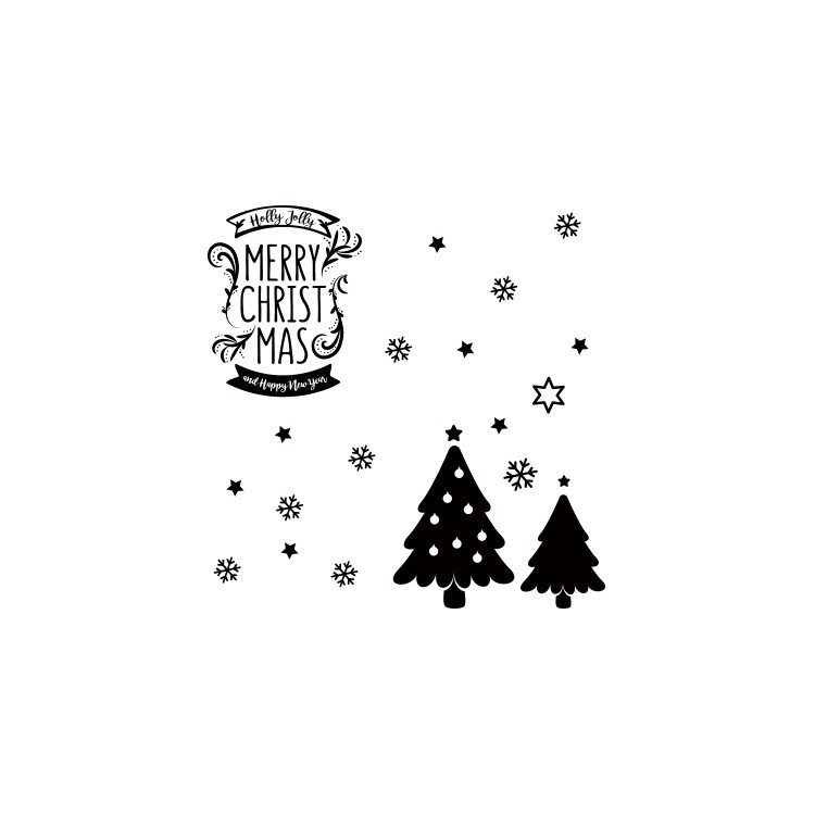 Holly Jolly Merry Christmas, Χριστουγεννιάτικα, Αυτοκόλλητα βιτρίνας