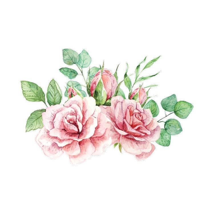 Τριάνταφυλλα με Νερομπογιά, Δέντρα - Λουλούδια, Αυτοκόλλητα τοίχου