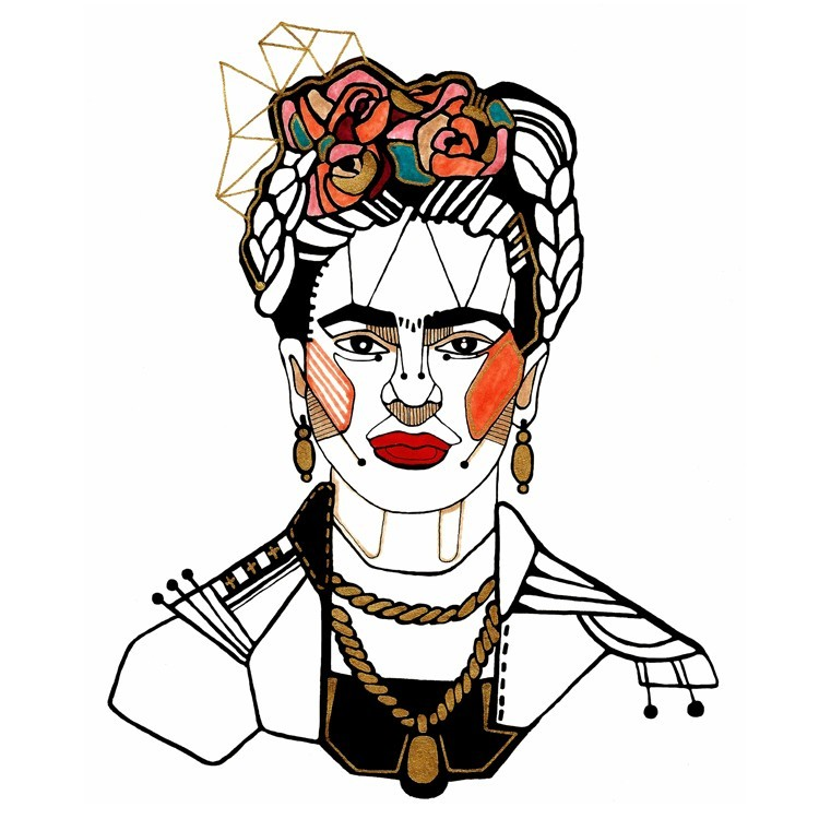 Frida Illustration, Vintage, Πίνακες σε καμβά