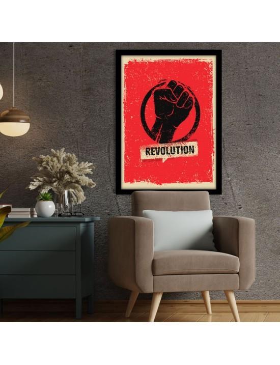 Revolution, γροθιά, Vintage, Πίνακες σε καμβά