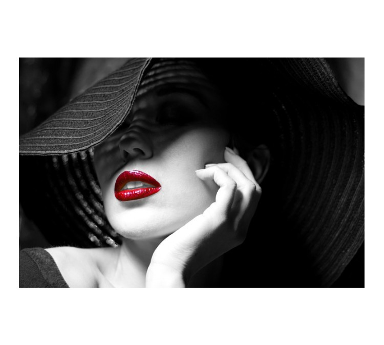 Ασπρόμαυρο Πορτραίτο Γυναίκας με Κόκκινα Χείλη, Άνθρωποι, Πίνακες σε καμβά