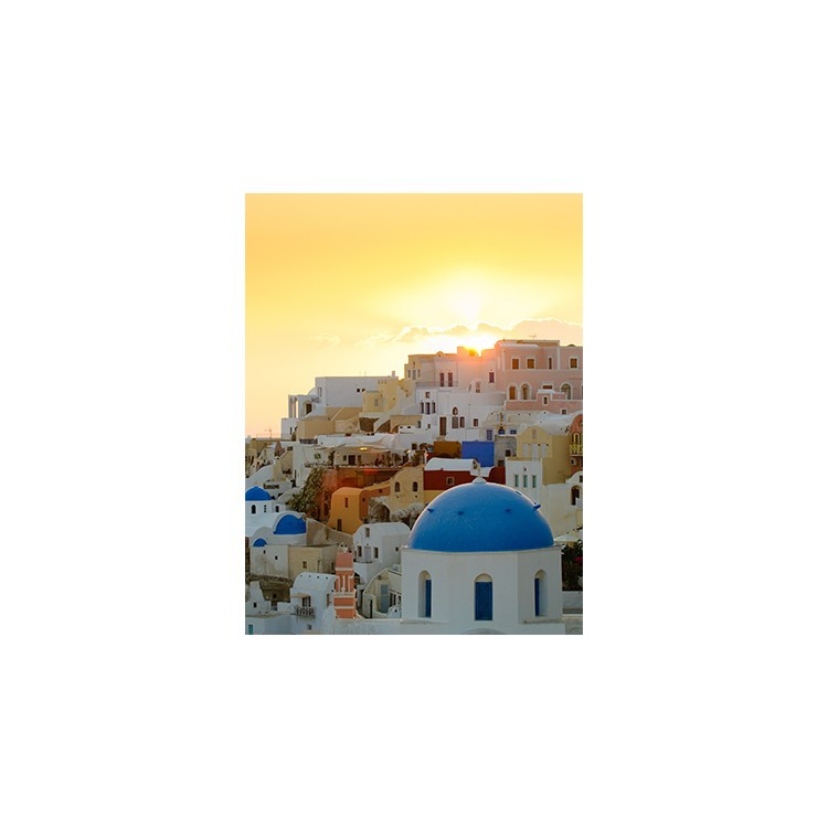 Οία στο ηλιοβασίλεμα, Σαντορίνη, Ελλάδα, Πίνακες σε καμβά