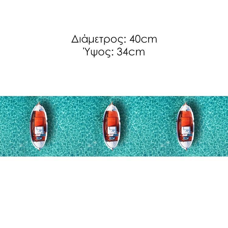 Αεροφωτογραφία παραδοσιακής βάρκας στην θάλασσα της Μυκόνου, Κυκλάδες., Διάφορα, Φωτιστικά Set