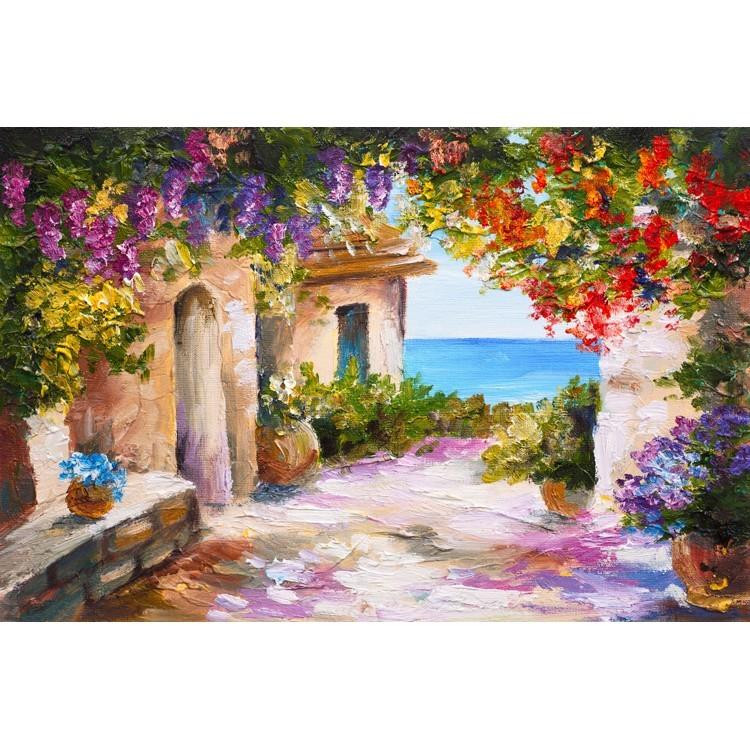 Ελαιογραφία, Σπίτι κοντά στη θάλασσα, Ελλάδα, Multipanel