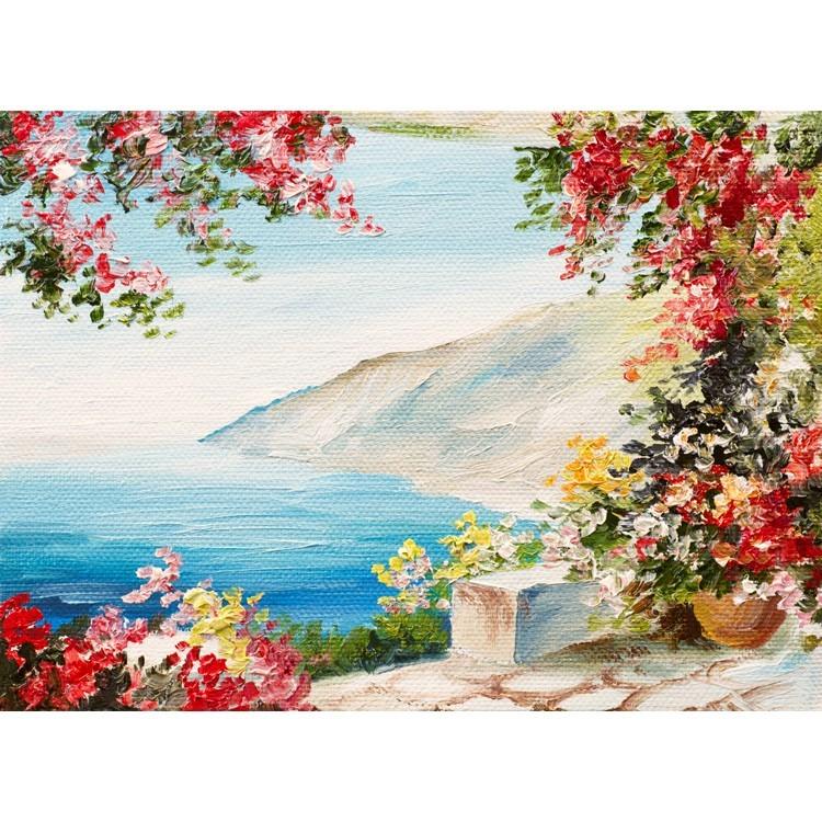 Ελαιογραφία, Θέα στη θάλασσα, Ελλάδα, Ταπετσαρίες Τοίχου