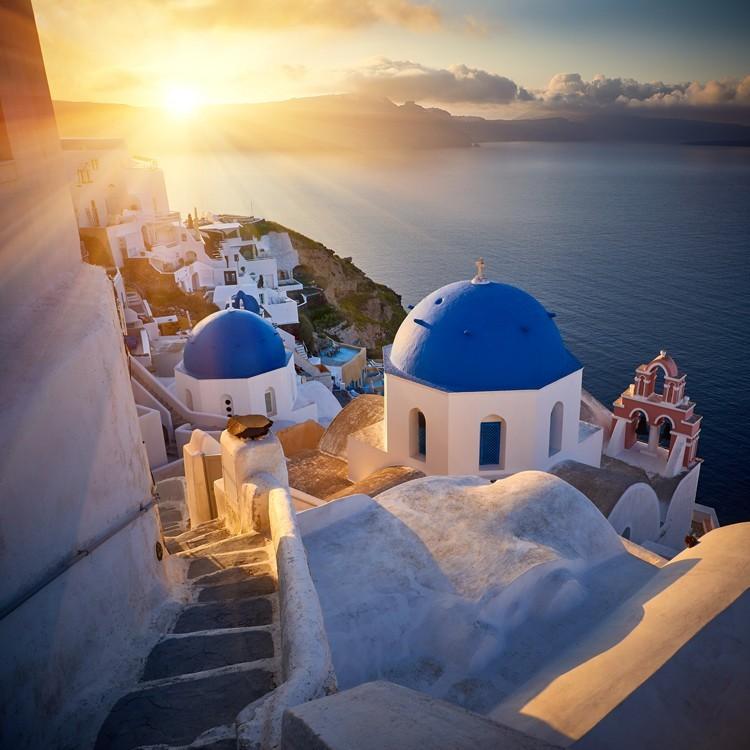 Ηλιοβασίλεμα στην Οία, Σαντορίνη, Ελλάδα, Multipanel