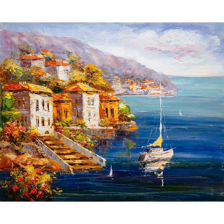 Ελαιογραφία, Θέα στο Λιμάνι, Ελλάδα, Multipanel