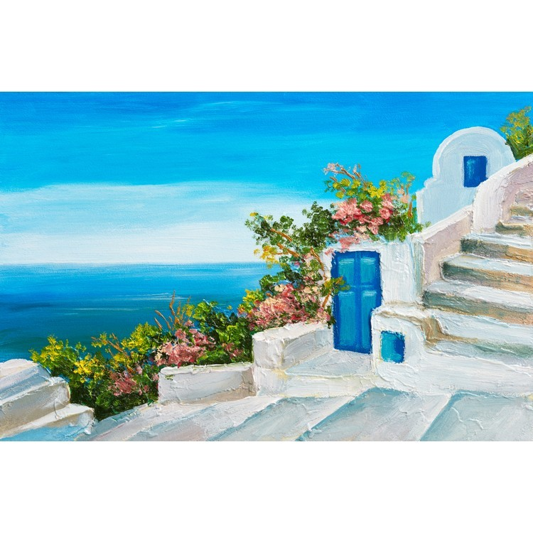 Σπίτι κοντά στη θάλασσα με πολύχρωμα λουλούδια., Ελλάδα, Ταπετσαρίες Τοίχου