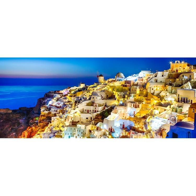 Ηλιοβασίλεμα στη Σαντορίνη,  λευκά σπίτια και ανεμόμυλοι, Ελλάδα, Multipanel