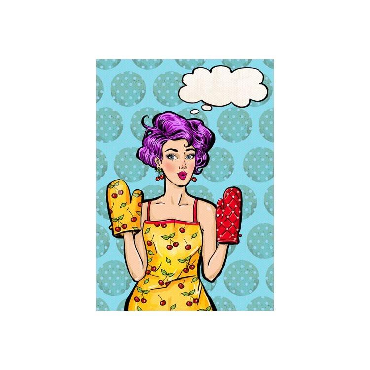 Pop Art Κορίτσι, Φαγητό, Πίνακες σε καμβά