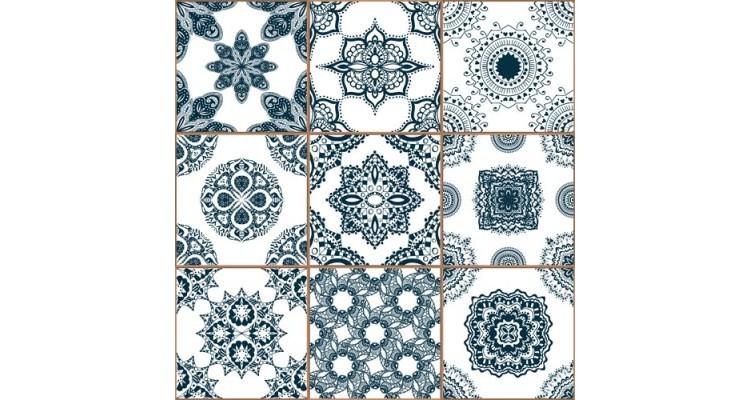 Μπλε κεραμικά πλακίδια, Φόντο - Τοίχοι, Αυτοκόλλητα ντουλάπας