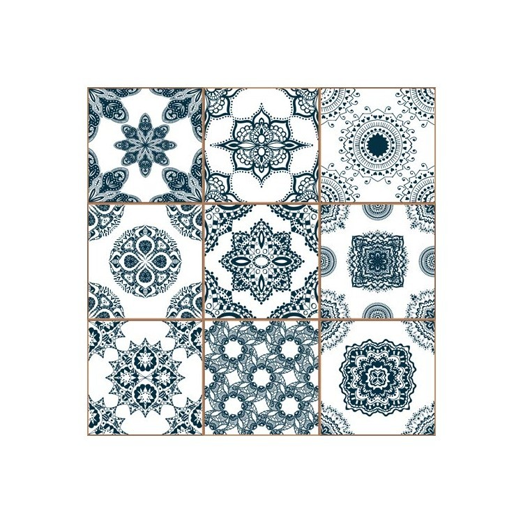 Μπλε κεραμικά πλακίδια, Φόντο, Παραβάν