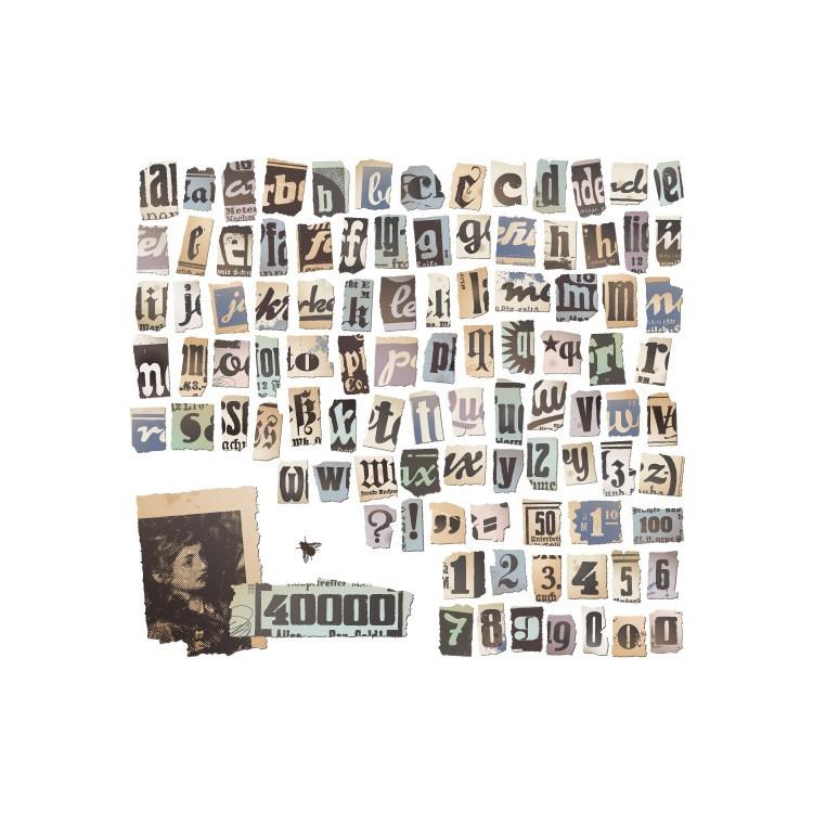 Ρετρό αλφάβητο σε εφημερίδα, Vintage, Ταπετσαρίες Τοίχου