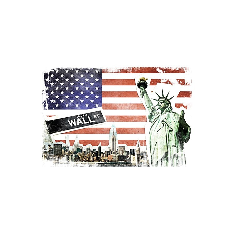 Kολάζ με την Νέα Υόρκη, Vintage, Multipanel