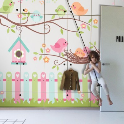Happy Birds, Παιδικά, Αυτοκόλλητα ντουλάπας