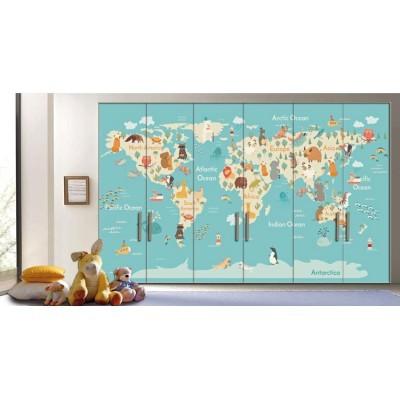Χάρτης με Ζώα, Παιδικά, Αυτοκόλλητα ντουλάπας