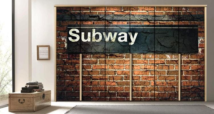 Mετρό, Νέα Υόρκη, Πόλεις - Ταξίδια, Αυτοκόλλητα ντουλάπας
