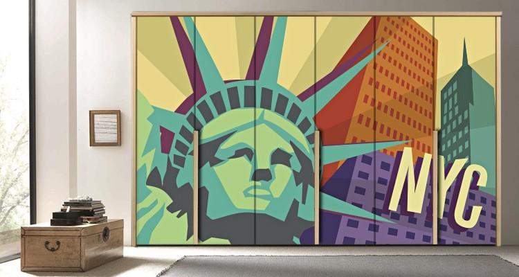 Aφίσα της Νέας Υόρκης, Πόλεις - Ταξίδια, Αυτοκόλλητα ντουλάπας