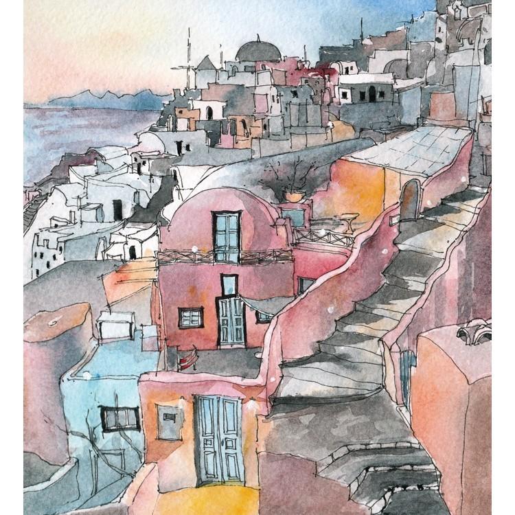 Ελαιογραφία, Σαντορίνη, Ελλάδα, Αυτοκόλλητα ντουλάπας
