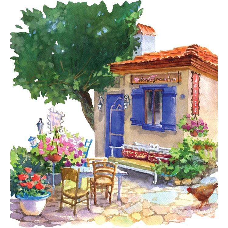 Παραδοσιακό μεσογειακό σπίτι, Πίνακας με νερομπογιά, Ελλάδα, Αυτοκόλλητα ντουλάπας