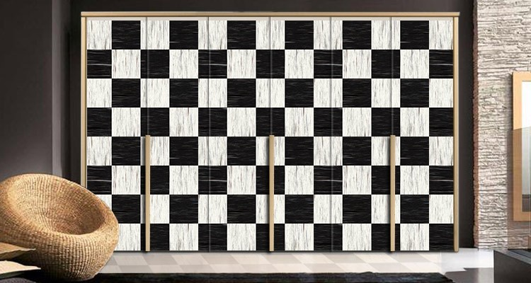 Καρό πλακάκια, Φόντο - Τοίχοι, Αυτοκόλλητα ντουλάπας