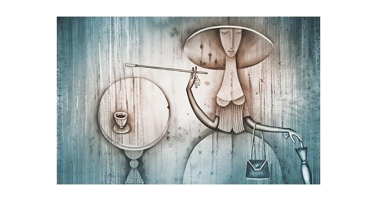 Κυρία με καπέλο, Ζωγραφική, Αυτοκόλλητα ντουλάπας