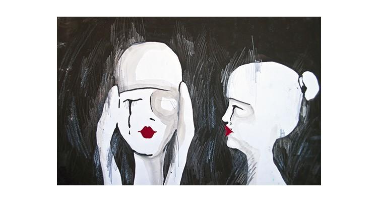 Αυθεντικός πίνακας δύο γυναικών, Ζωγραφική, Αυτοκόλλητα ντουλάπας