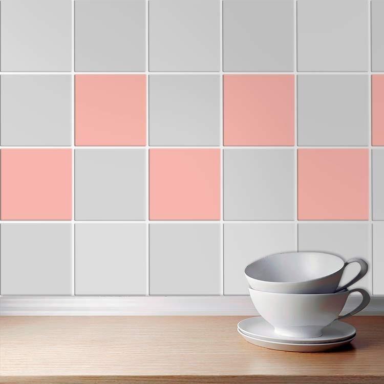 Αυτοκόλλητο πλακάκι τοίχου Dalhia pink (8 τεμάχια)