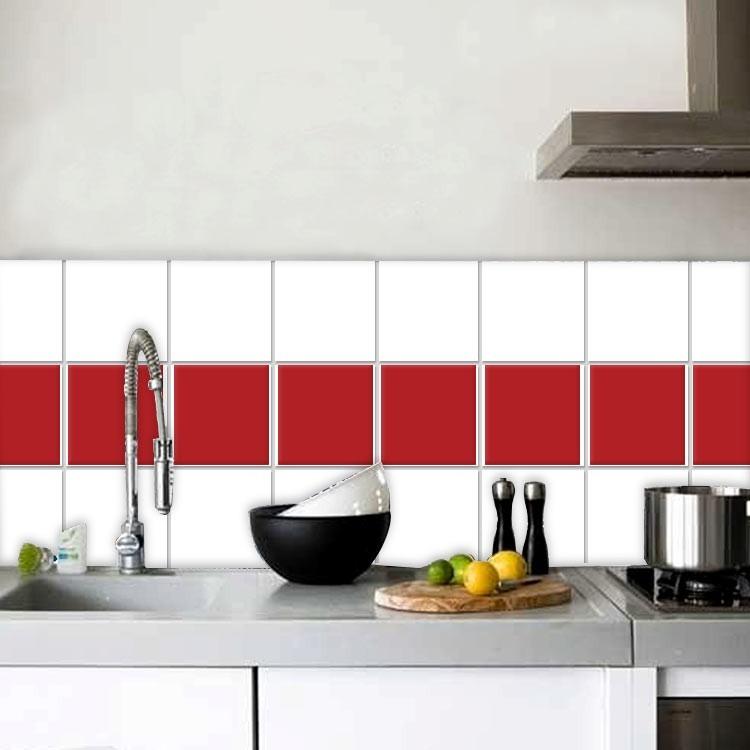 Αυτοκόλλητο Πλακάκι Medium red (8 τεμάχια)