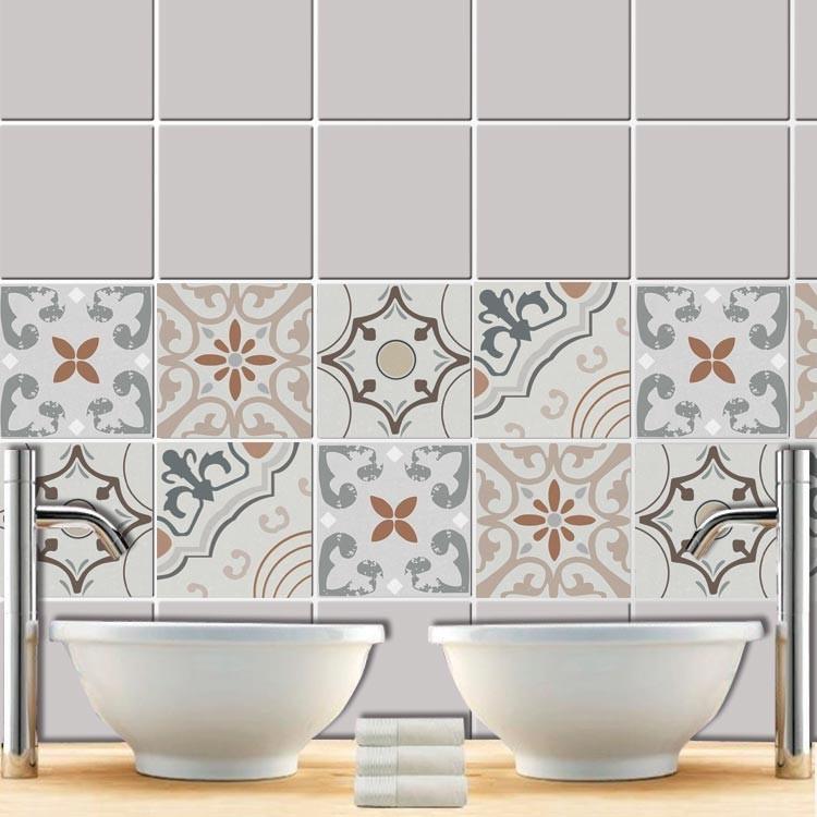 Αυτοκόλλητο πλακάκι τοίχου Ρετρό μοτίβο γήινα χρώματα  (8 τεμάχια)