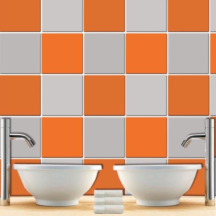 Αυτοκόλλητο Πλακάκι Orange (8 τεμάχια)