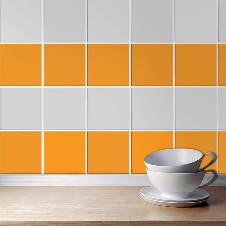 Αυτοκόλλητο πλακάκι τοίχου Light orange (8 τεμάχια)