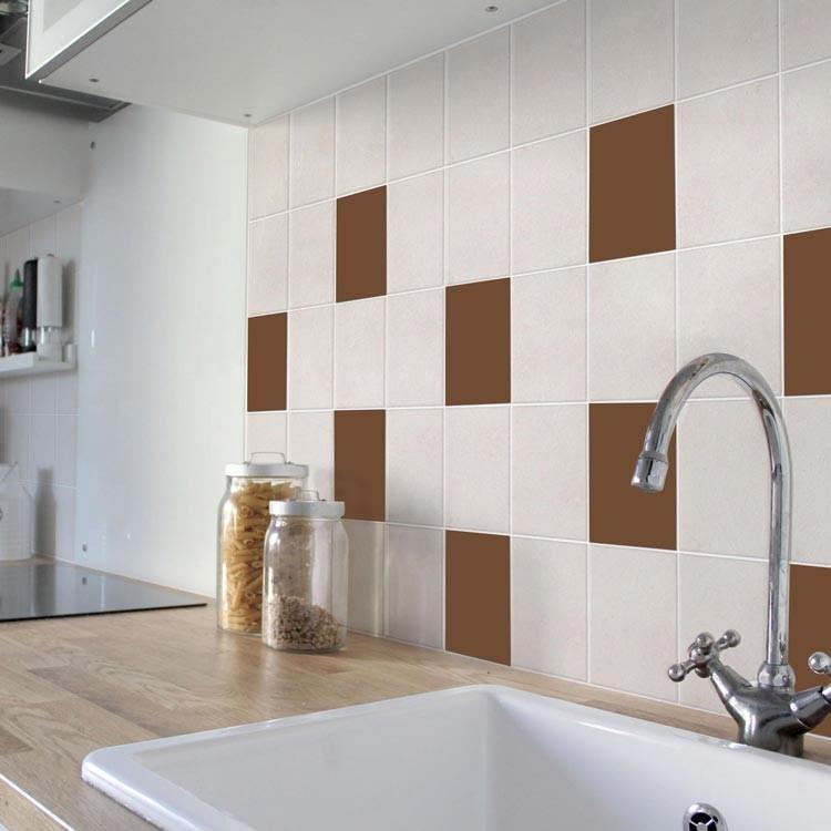 Αυτοκόλλητο πλακάκι τοίχου Chocolate Brown (8 τεμάχια)
