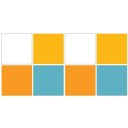 White - Light blue - Light orange - Butter cup (8 τεμάχια)