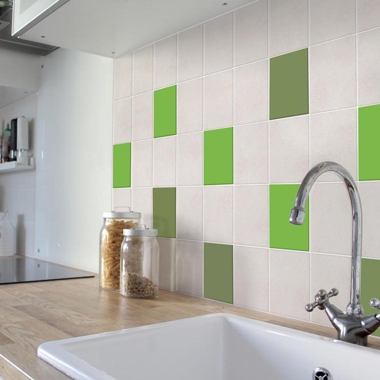 Αυτοκόλλητο πλακάκι τοίχου Lime+Pesto (8 τεμάχια)