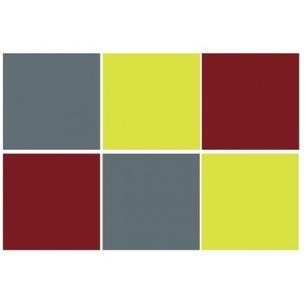 Burgundy - Green yellow - Graphite (6 τεμάχια)