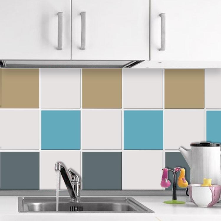 Αυτοκόλλητο πλακάκι τοίχου Graphite - Light blue - Silk grey (6 τεμάχια)