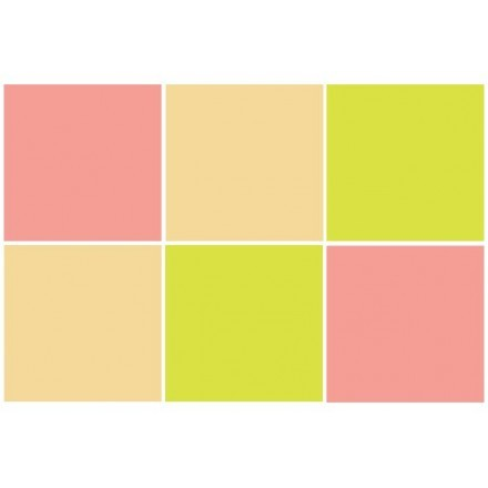 Green yellow - Ivory - Dalhia pink (6 τεμάχια)